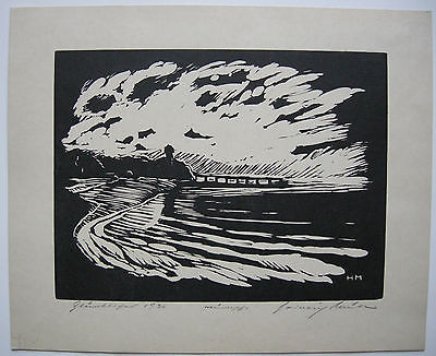 Heinrich Müller Nächtliche Landschaft Orig Holzschnitt 1936 signiert