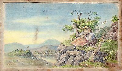Stammbuchblatt Freundschaftsbild Liebespaar am See Orig Farbzeichnung 1820