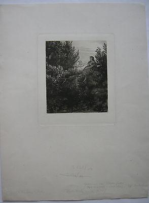 Wilhelm Hecht (1843-1920) Idylle Orig Radierung 1890 Probedruck