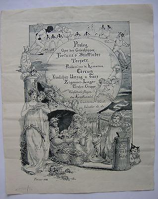 Anschlag Künstler-Kirmes Orig Zinkätzung 1890 Musik Zirkus Buden Jahrmarkt