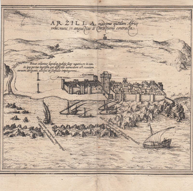 Asilah Arzila Arcilla Marokko Orig Kupferstich Braun Hogenberg 1580 Afrika