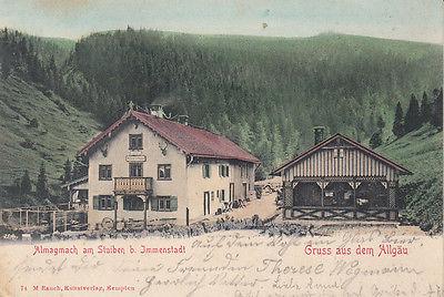 AK Almagmach am Stuiben Immenstadt Allgäu Posthilfstelle Stempel Litho gel 1900