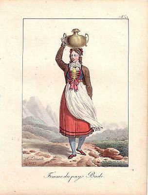 Hippolyte Lecomte Tracht Bäuerin Baden Österreich Farblithografie 1819 Inkunabel