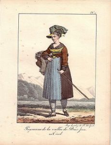 Hippolyte Lecomte Tracht Bäuerin Unter-Inn Tirol Farblithografie 1819 Inkunabel