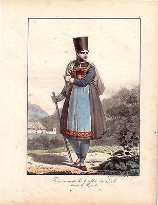 H Lecomte Tracht Bäuerin Lechtal Österreich Farblithografie 1819 Inkunabel
