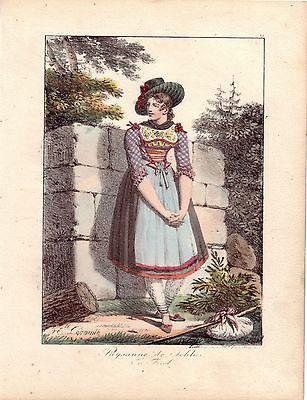 H Lecomte Tracht Bäuerin Schlier Österreich Farblithografie 1817 Inkunabel
