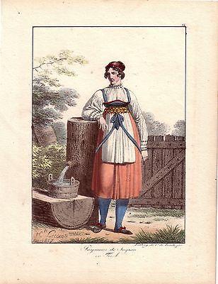 H Lecomte Tracht Bäuerin Sagran Österreich Farblithografie 1819 Inkunabel