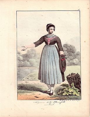 H Lecomte Tracht Bäuerin Mangfall Österreich Farblithografie 1819 Inkunabel