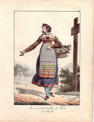 H Lecomte Tracht Bäuerin Tesinotal Südtirol  Farblithografie 1817 Inkunabel