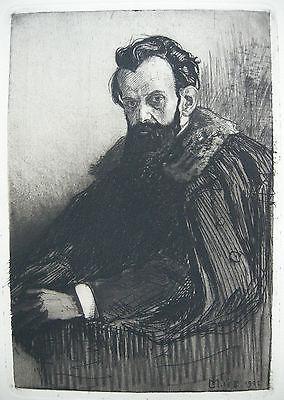 Ludwig Michalek Portrati Karl M. Kuzmany Orig. Radierung 1920