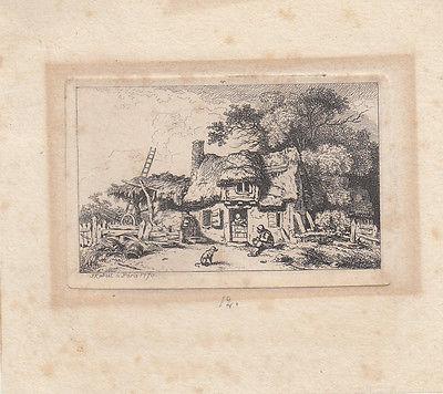 Ferdinand Kobell (1740-1799) Kleines Gehöft Orig Radierung 1770