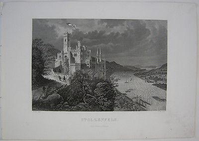 Burg Stolzenfels Koblenz Rheinland-Pfalz Orig Stahlstich F. Foltz 1860