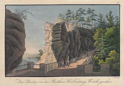C. H. Beichling (1803-1876) Rathner Brücke Bastey Orig Umrissradierung 1850
