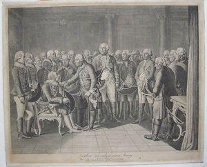 Daniel Chodowiecki (1726-1801) Zieten vor seinem König Orig. Kupferstich 1786