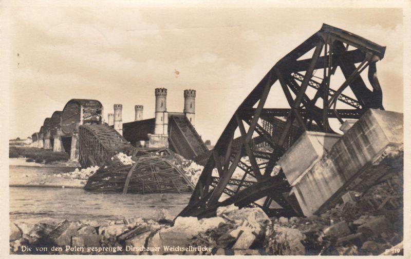 AK von den Polen gesprengte Dirschauer Brücke Tczew 2. Weltkrieg gel 1940