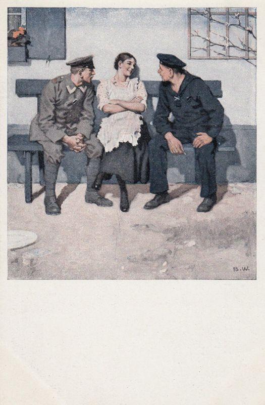 AK Kriegspostkarte B. Wennerberg Nr. 16 Geplänkel Feldpost 1916