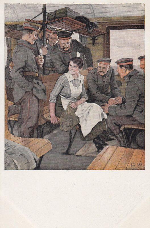 AK Kriegspostkarte B. Wennerberg Nr. 13 Urlaubsfahrt Feldpost 1916