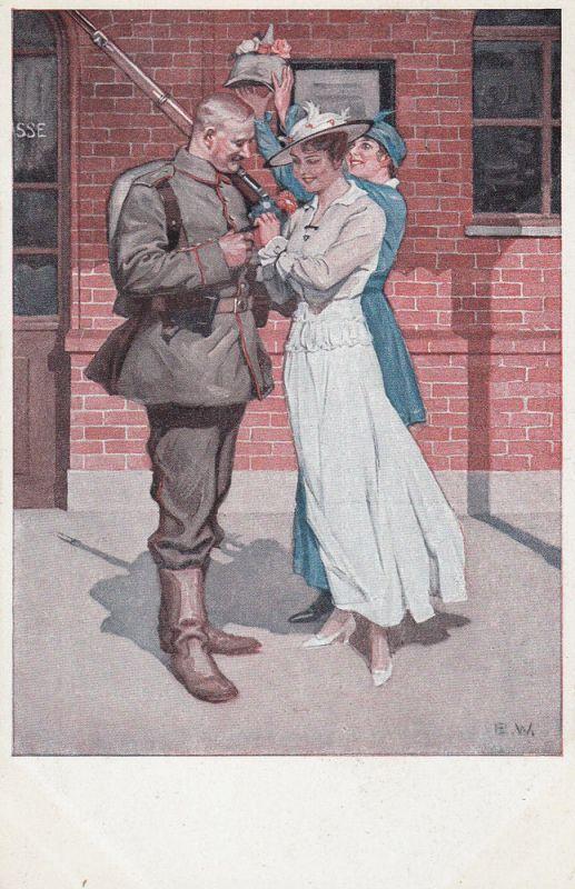 AK Kriegspostkarte B. Wennerberg Nr. 8 Vor der Abfahrt Feldpost gel 1915