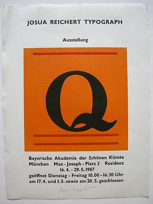 Josua Reichert (1937) Typograph Buchstabe Q Orig Farbholzschnitt signiert