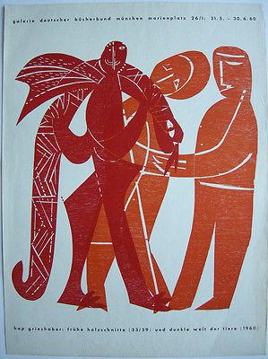 Grieshaber Frühe Holzschnitte Orig Plakat Holzschnitt Galerie Bücherbund 1960