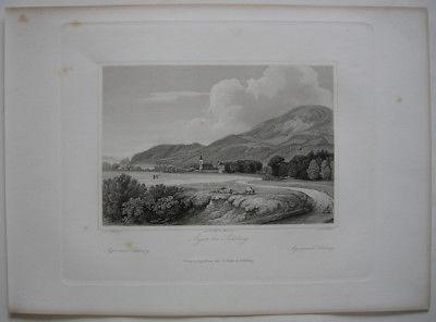 Aigen bei Salzburg Ansicht aus der Ferne Orig. Stahlstich C. Huber 1847