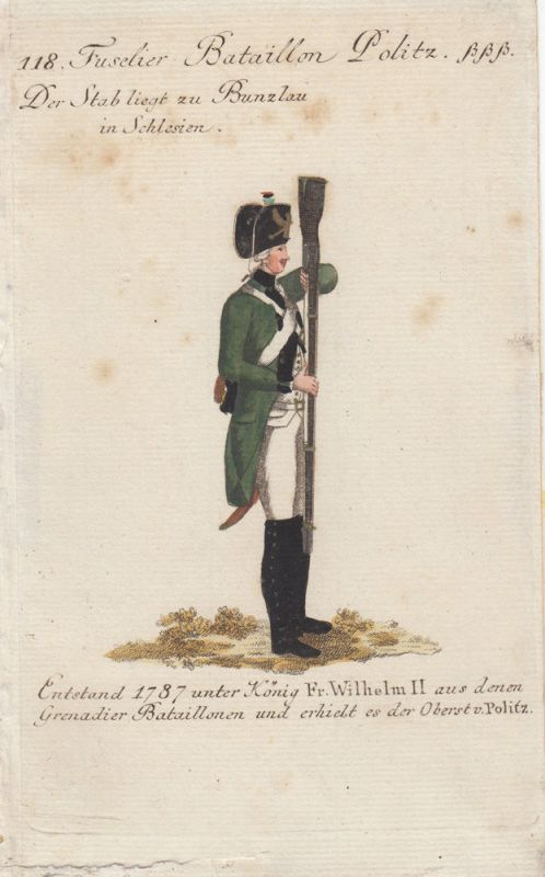 Uniformen Preußen Füselier Bataillon Politz Kolor Orig Kupferstich 1790