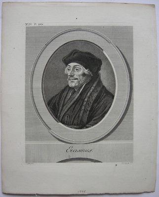 Erasmus von Rotterdam (1466-1536) Erasmus Holbein Orig Kupferstich 1778 Lips