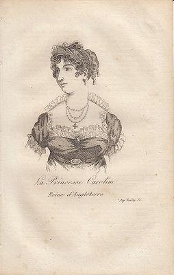Caroline von Braunschweig (1768-1821) Königin von England Orig Radierung 1822