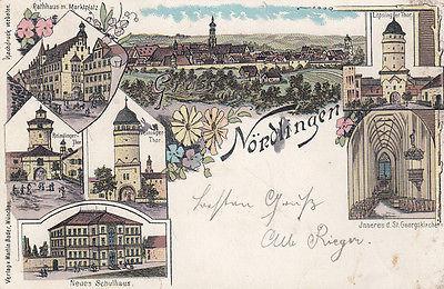 AK Nördlingen Ries Rathaus Schulhaus Georgskirche Litho gel 1898 Schwaben