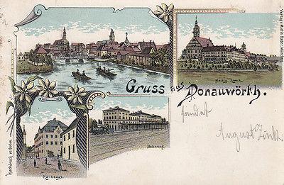 AK Donauwörth Ansicht Rathaus Bahnhof Heilig Kreuz Litho gel 1898 Schwaben