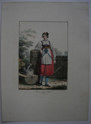 H Lecomte (1781-1857) Bäuerin Sagran Tracht Orig Lithografie 1817 Österreich