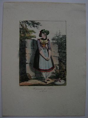 H Lecomte (1781-1857)Bäuerin Schlier Tracht Orig Lithografie 1817 Österreich