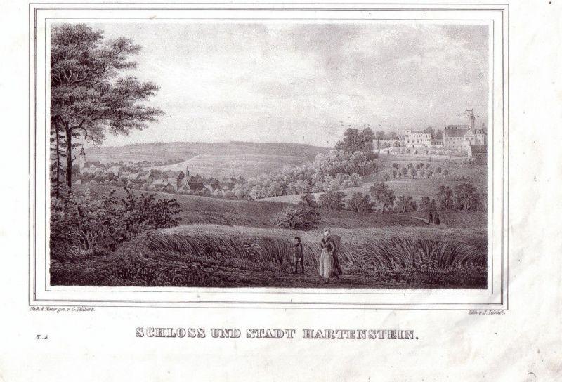 Hartenstein bei Chemnitz Sachsen Lithographie 1842