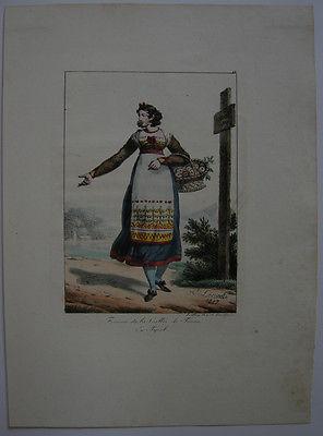 H Lecomte (1781-1857) Bäuerin Tessin Tracht Orig Lithografie 1817 Schweiz