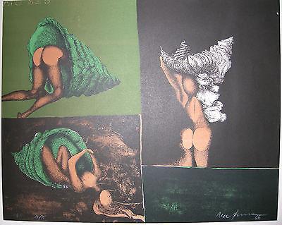 Mac Zimmermann Drei Versuche in eine Muschel Orig Lithografie 1966 signiert