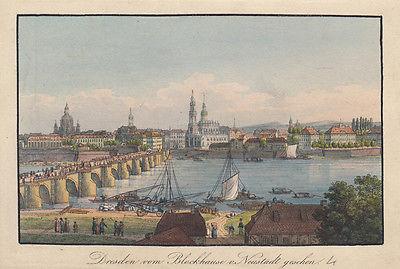 C. H. Beichling (1803-1876) Dresden vom Blockhaus Orig Umrissradierung 1850
