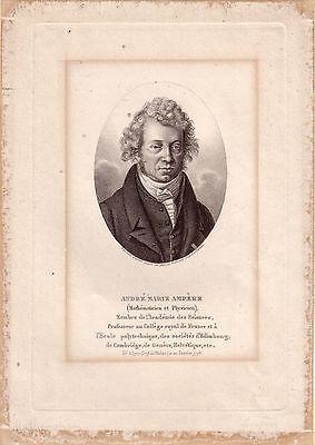 André Ampere Portrait Kupferstich Physiker 1825 Ambroise Tardieu