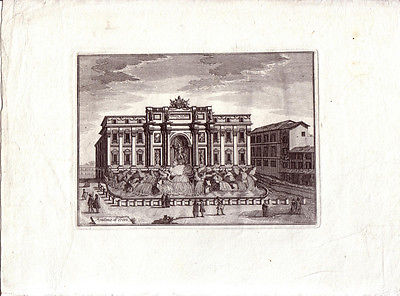 Roma Fontana di Trevi Italia Kupferstich Veduta di rame 1780