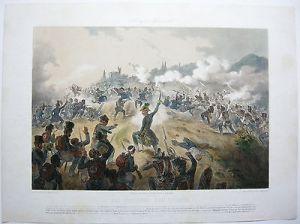 Vicenza  Battaglia 1848 Lombardei Lithographie 1849 Bachmann-Hohenstein Italia
