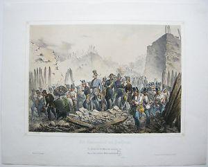 Peschiera Garda Battaglia 1848 Lombardei Lithographie 1849 Bachmann-Hohenstein