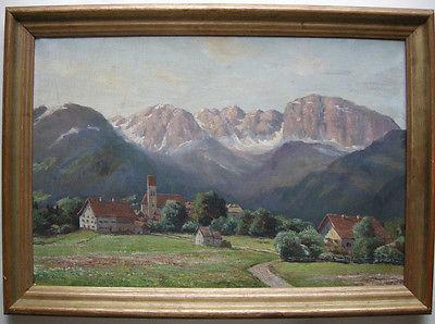 Josef Koch (1886-1966) Oberbayr Dorf vor Kampenwand Chiemgau signiert Öl Leinw