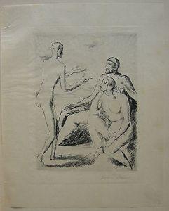 Felix Meseck (1883-1955) Diskussion Orig Radierung sign 1920 Neue Sachlichkeit