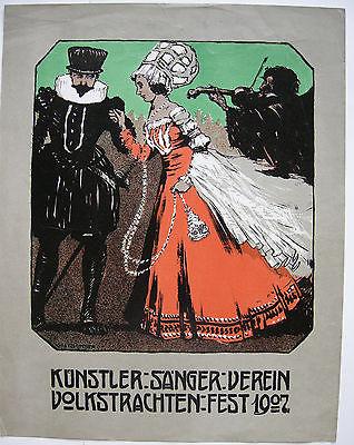 Otto Flechtner (1881-1952) Plakat Volkstrachtenfest Orig Lithografie 1907