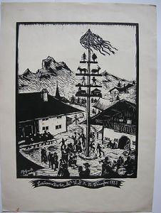Franz Gebhardt (1895-1969) Bauernkirta Orig Lithografie 1925 Maibaum Dorfplatz