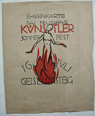 Feldgraue Künstler Sommerfest München Geiselgasteig Orig Holzschnitt 1920