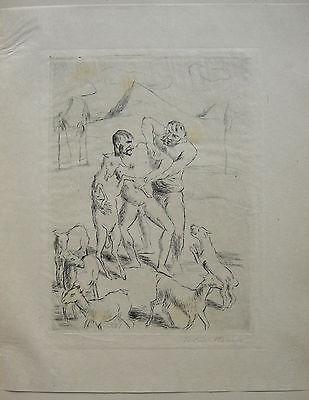 Felix Meseck (1883-1955) Ziegenhirten Orig Radierung sign 1920 Neue Sachlichkeit