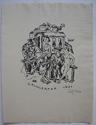 Fritz Berz (1883-1966) Gauklertag 1931 Gaukler Orig Lithografie signiert