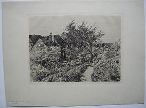 Carl Th. Meyer-Basel (1860-1932) Häuser Meersburg Bodensee Orig Radierung 1900