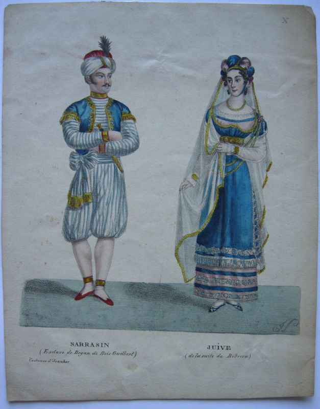 Theatergestalten Sarrasin (Ivenhoe) Jüdin (Rebecca) Orig Farblithografie 1830