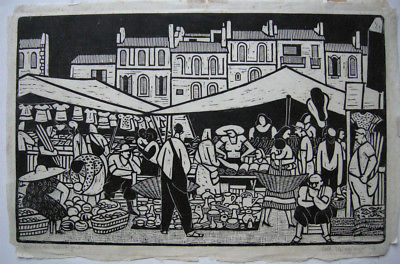 Albert Heinzinger (1911-1992) Markt in Martigues Orig Holzschnitt signiert 1957